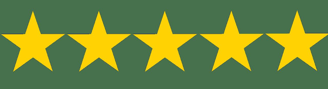 5 star rating for testimonials